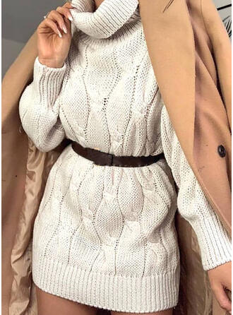 Sólido Punto De Cable Cuello De Tortuga Casuales Largo Vestido de Suéter