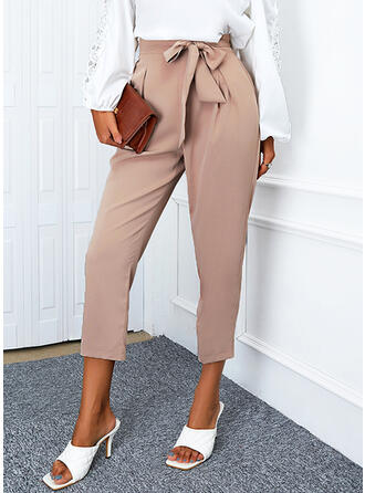 Solid Cropped Casual Shirred Bowknot Lounge Pants