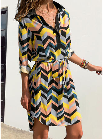 Print Long Sleeves A-line Above Knee Casual/Vacation Skater Dresses