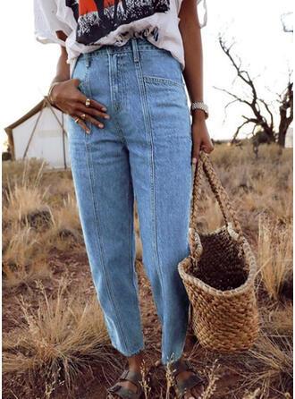 Solid Patchwork Sexy Skinny Vintage Denim & Jeans