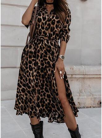 Leopardo Mangas 3/4 Acampanado Casual Midi Vestidos