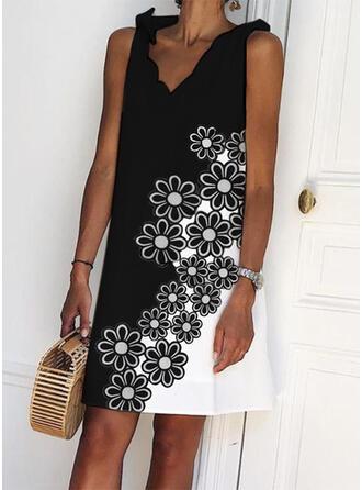 Impresión/Floral/Bloque de color Sin mangas Tendencia Sobre la Rodilla Casual Vestidos