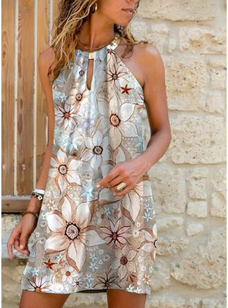 Print/Floral/Backless Sleeveless Shift Above Knee Casual/Vacation Dresses