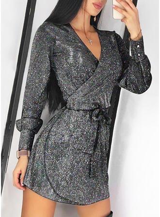 Sequins Long Sleeves A-line Above Knee Little Black/Party/Elegant Wrap/Skater Dresses