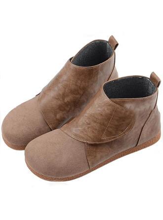 De mujer PU Tacón plano Botas al tobillo Encaje con Velcro Color sólido zapatos