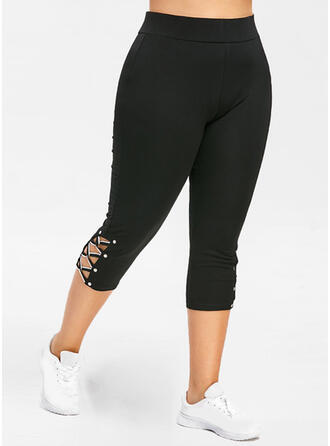 Solid Plus Size Mesh Skinny Stretchy Leggings