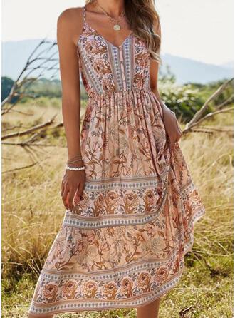Print/Floral Sleeveless A-line Slip/Skater Casual/Boho/Vacation Midi Dresses