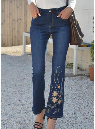 Embroidery Shirred Plus Size Elegant Vintage Denim & Jeans
