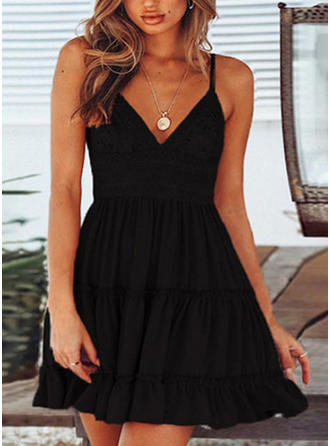 Lace/Solid Sleeveless A-line Above Knee Little Black/Sexy/Casual/Party/Vacation Slip Dresses