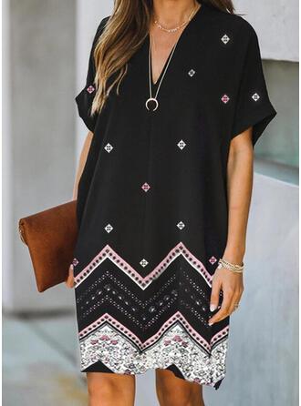 Print Short Sleeves Shift Knee Length Elegant Dresses