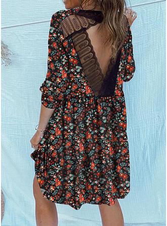 Encaje/Impresión/Floral Manga Larga Tendencia Sobre la Rodilla Casual Vestidos