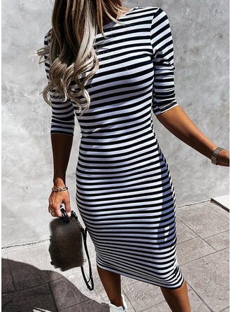 Striped/Backless 3/4 Sleeves Bodycon Pencil Casual Midi Dresses