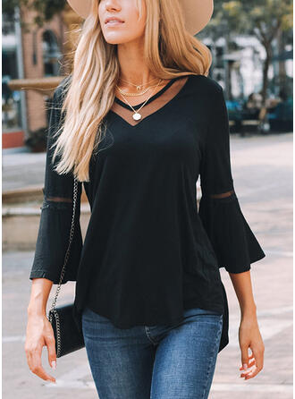 Solid Lace V-Neck Flare Sleeve 3/4 Sleeves Casual Blouses