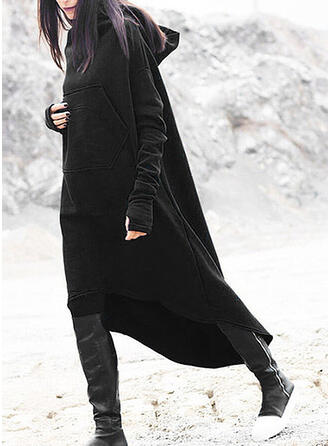 Solid Long Sleeves Shift Asymmetrical Casual Sweatshirt Dresses