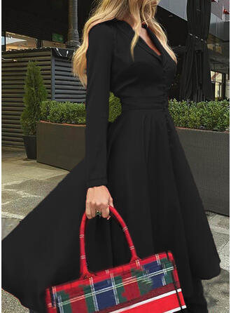 Solid Long Sleeves A-line Skater Little Black/Elegant Midi Dresses
