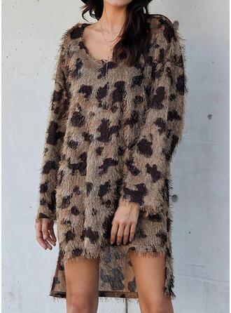 Leopard Long Sleeves Shift Asymmetrical Casual Tunic Dresses