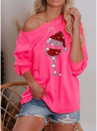 Sequins One-Shoulder Long Sleeves Casual Christmas Blouses