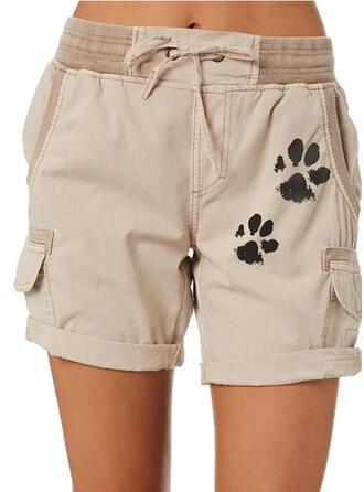 Estampado de animales Talla extra Cordón Por encima de la rodilla Casual Llanura Pantalones cortos