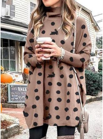 PolkaDot/Animal Print Long Sleeves Shift Above Knee Casual Tunic Dresses