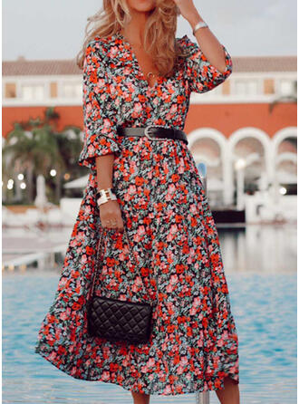 Impresión/Floral Mangas 3/4 Acampanado Casual/Vacaciones Midi Vestidos