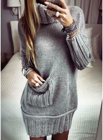 Solid Pocket Turtleneck Casual Long Sweater Dress