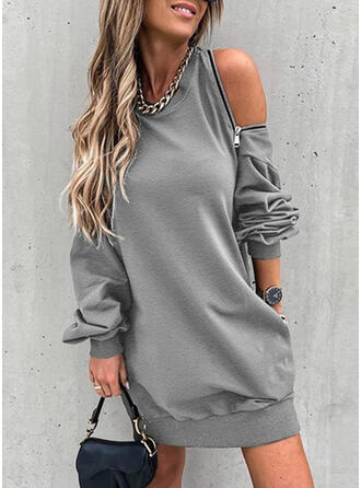 Solid Long Sleeves Cold Shoulder Sleeve Shift Above Knee Casual Tunic Dresses
