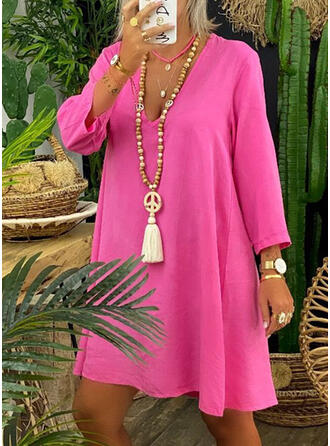 Solid Long Sleeves Shift Knee Length Casual/Vacation Tunic Dresses