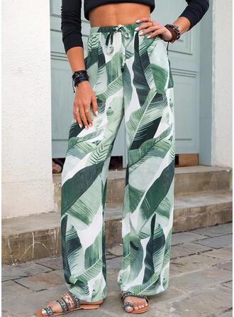 Print Leaves Long Casual Drawstring Pants