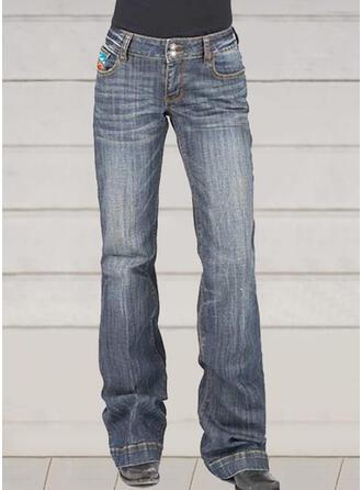 Shirred Elegant Vintage Denim & Jeans