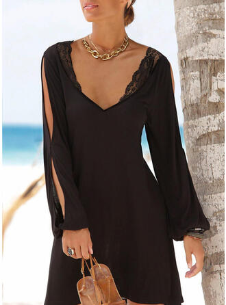 Lace/Solid Long Sleeves/Cold Shoulder Sleeve Sheath Above Knee Casual Dresses