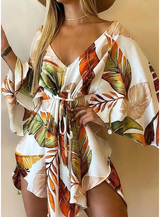 Print 3/4 Sleeves Flare Sleeve A-line Above Knee Casual/Vacation Skater Dresses