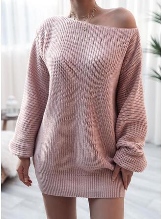 Sólido Un hombro Casuales Largo Vestido de Suéter