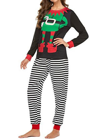 Polyester Long Sleeves Cartoon Christmas Pyjama Set