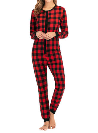 Cotton Long Sleeves Christmas Grid Romper