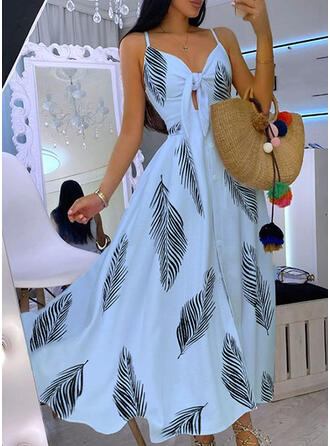 Print Sleeveless A-line Slip/Skater Party Maxi Dresses