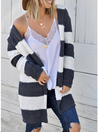 Polyester Long Sleeves Color Block Striped