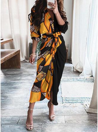 Print 1/2 Sleeves Sheath Casual Midi Dresses