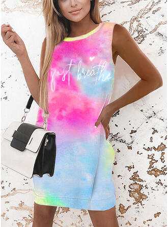 Print/Tie Dye/Heart/Letter Sleeveless Shift Above Knee Casual Tank Dresses