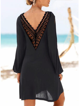Lace/Solid Long Sleeves/Cold Shoulder Sleeve Shift Above Knee Little Black/Casual/Vacation Tunic Dresses