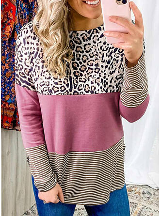 Color Block Striped Leopard Round Neck Long Sleeves Casual T-shirts