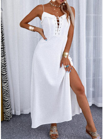 Solid/Lace-up Sleeveless A-line Slip/Skater Elegant Maxi Dresses