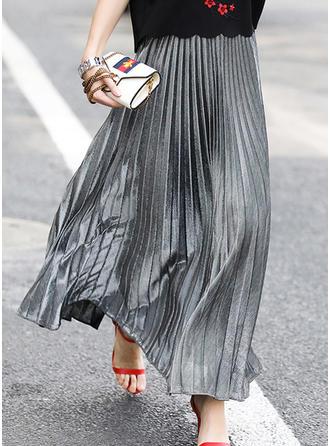 mezcla de algodón Color sólido Maxi Faldas Plisadas