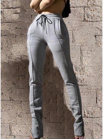 Patchwork Drawstring Casual Vintage Pants