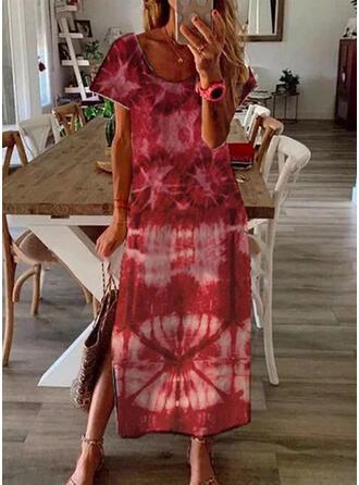 Print Short Sleeves Shift Tunic Casual Maxi Dresses