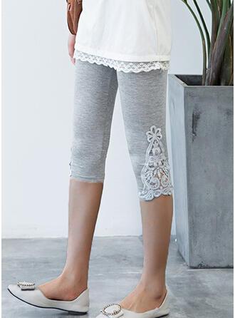 Lace Patchwork Plus Size Casual Plain Leggings