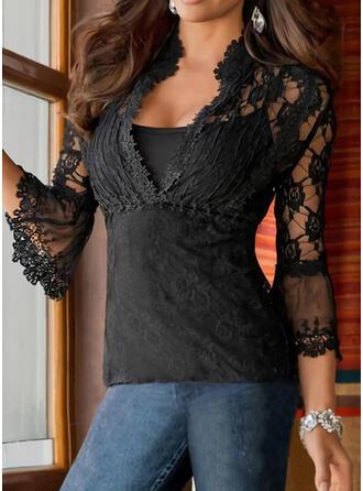 Solid Lace V-Neck 3/4 Sleeves Flare Sleeve Elegant Blouses