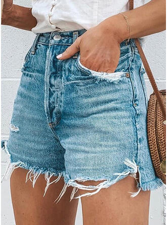 Pockets Shirred Above Knee Casual Denim Shorts Denim & Jeans