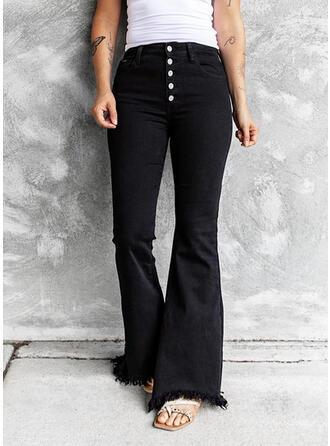 Solid Cotton Denim Long Casual Vintage Tassel Button Denim & Jeans