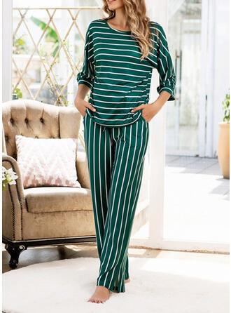 Mezcla de algodón Raya Talla extra Cuello Redondo Manga Larga Conjunto de pijama