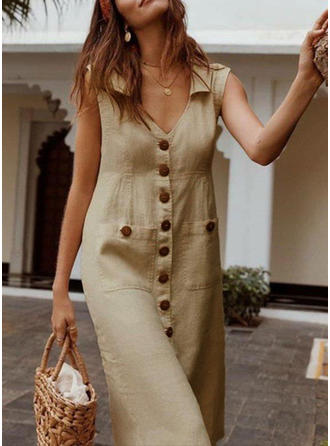 Solid Sleeveless Shift Casual Midi Dresses